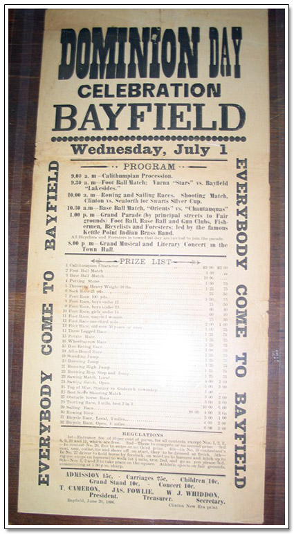 Bayfield Dominion Day Celebration Ephemera